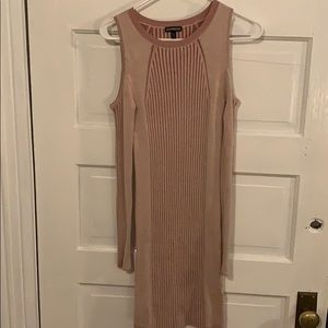 Express light pink/nude bodycon dress
